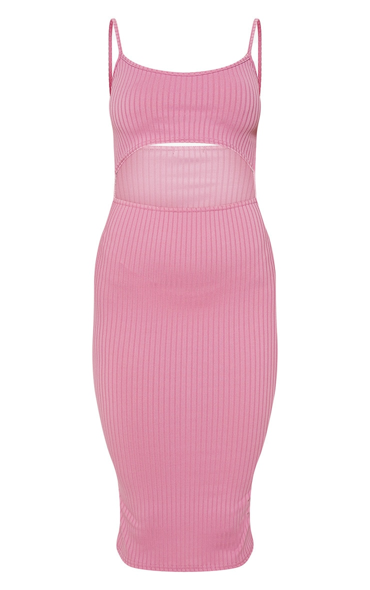 Rose Ribbed Cut Out Strappy Midi Dress 3