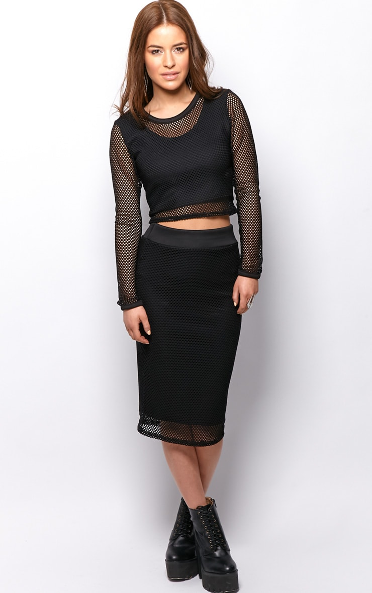 Eleanor Black Fishnet Long Sleeve Crop Top 3