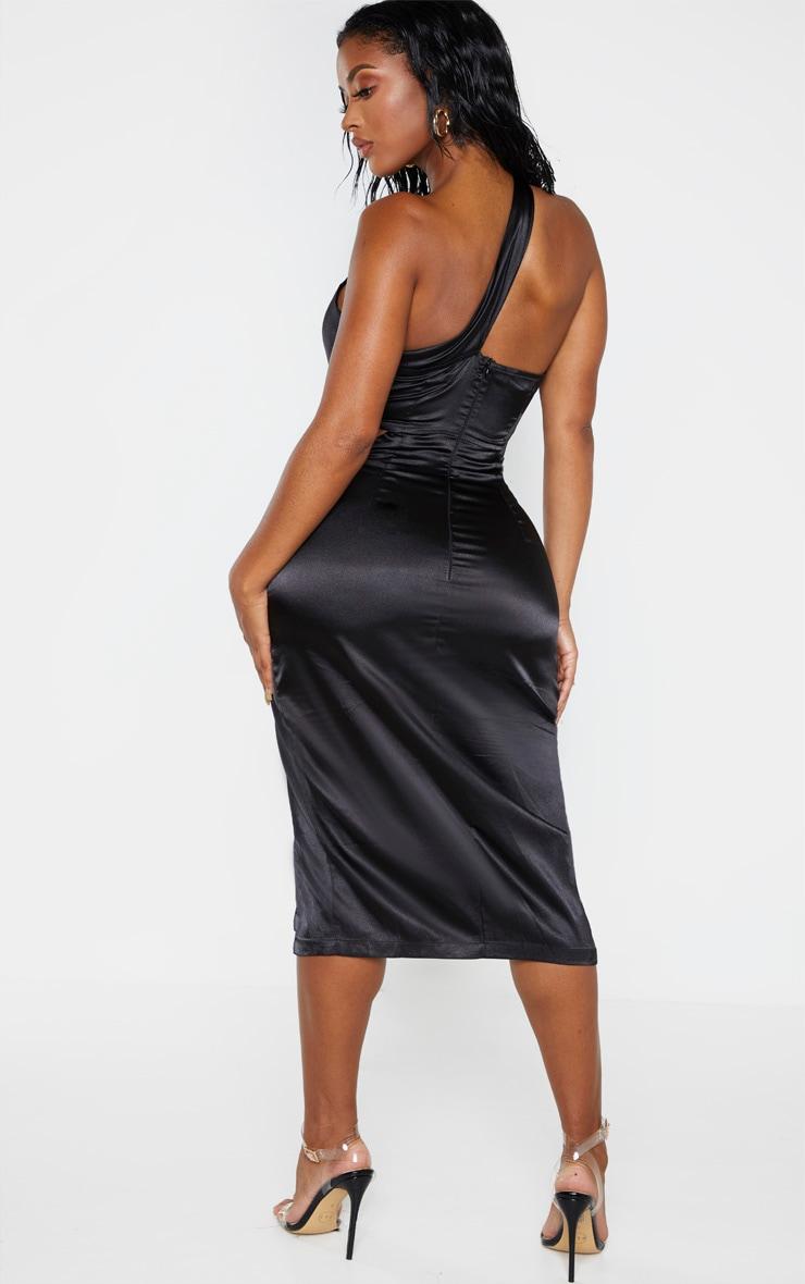 Shape Black Twist Front Cut Out Detail Satin Midi Dress 2