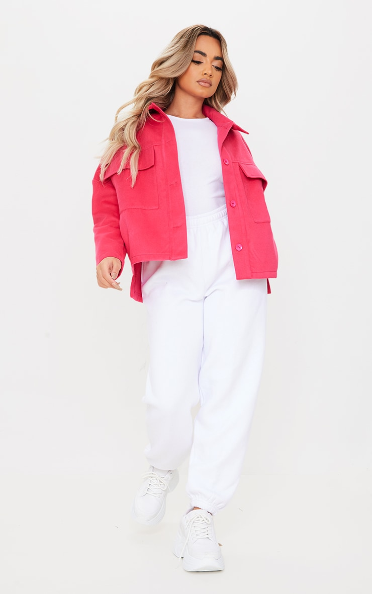 Petite Pink High Low Oversized Shacket 3