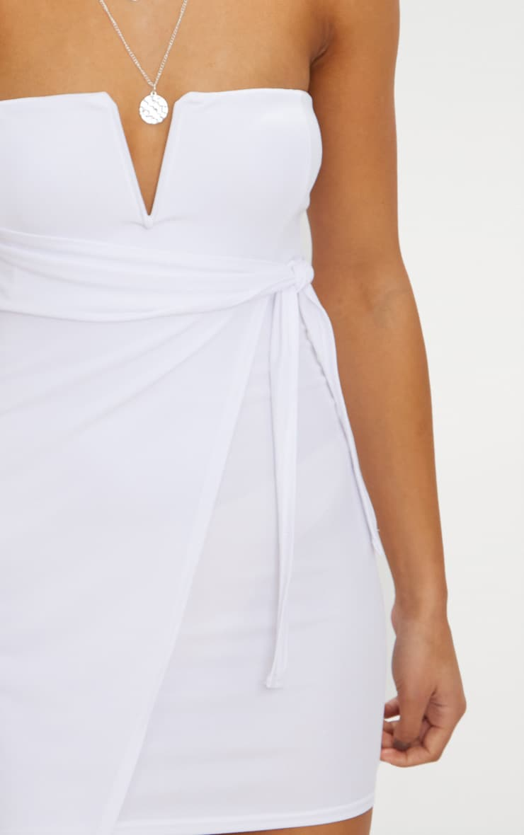 White V Bar Bandeau Wrap Bodycon Dress 5