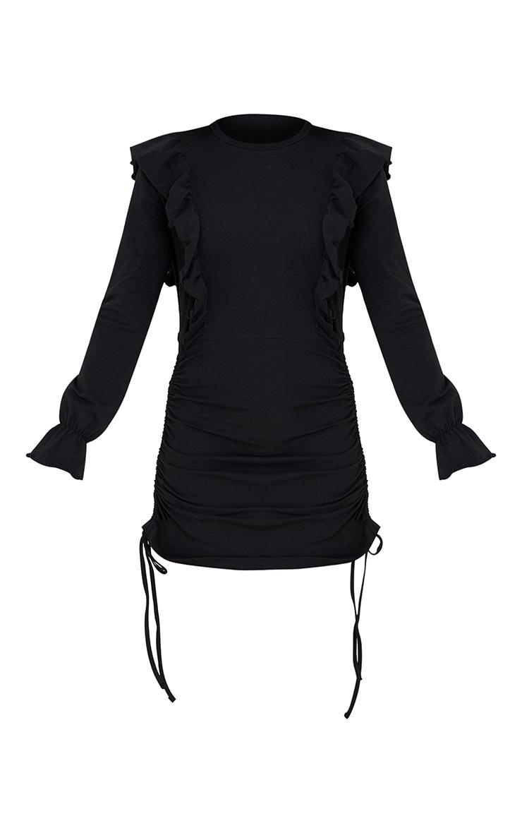 Black Frill Shoulder Ruched Skirt Sweat Jumper Dress 5