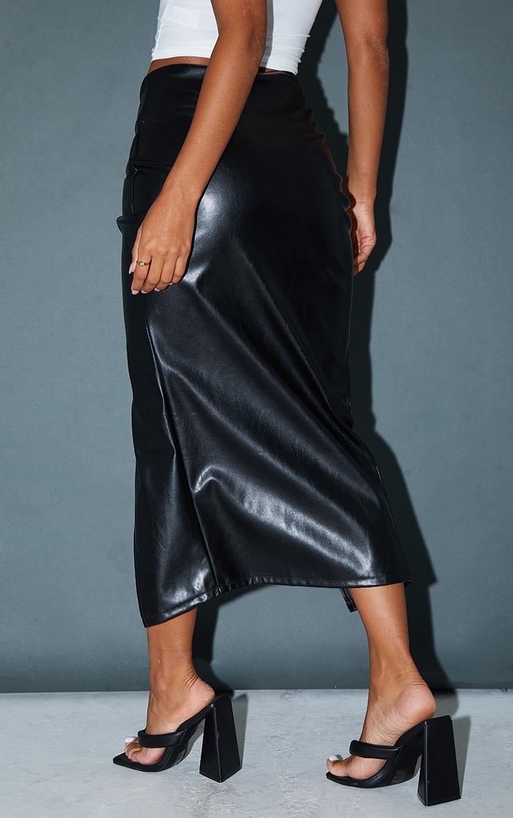 Black Faux Leather Twist Detail Front Midi Skirt 3