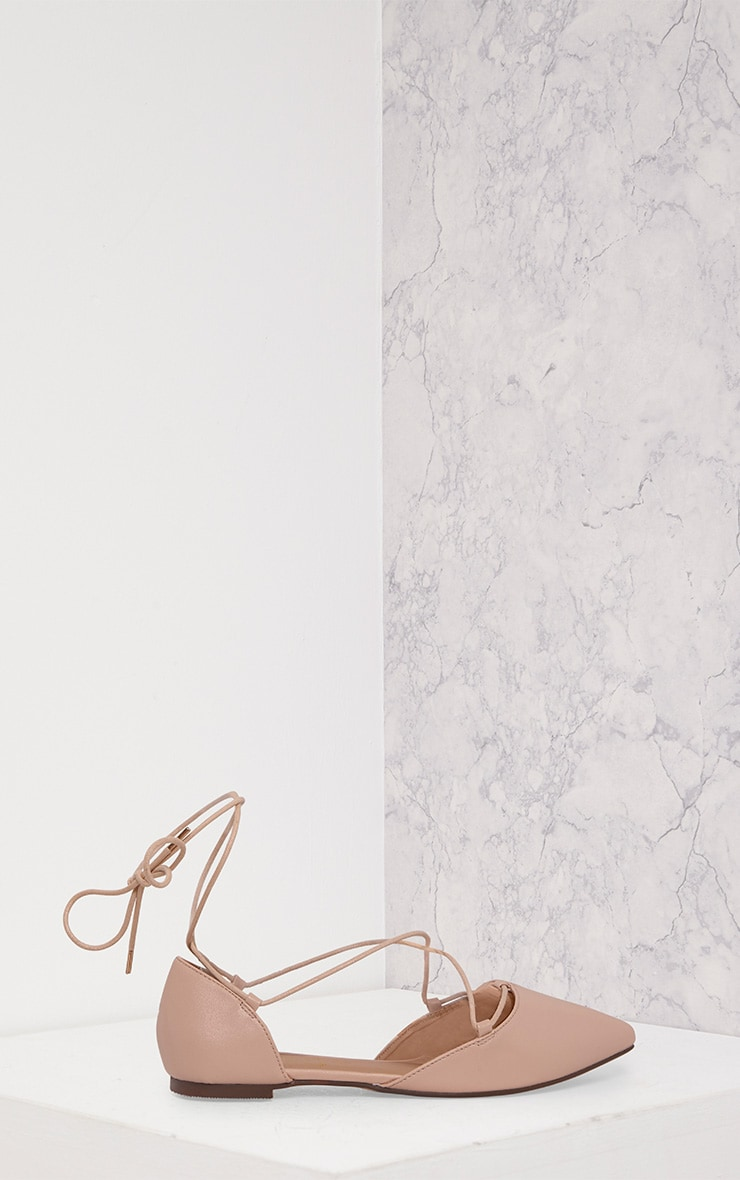 Vienna Nude Faux Leather Lace Up Ballet Flats 3