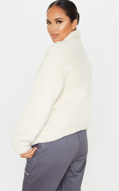 Cream Borg Zip Front Sweater