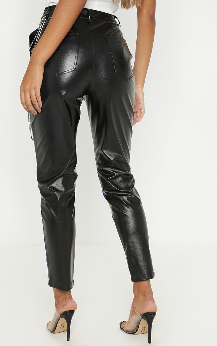 Black Faux Leather Contrast Panel Skinny Trouser  4