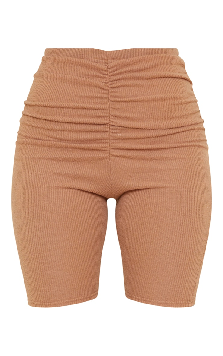 Camel Soft Brushed Rib Ruched Front Cycle Shorts 6