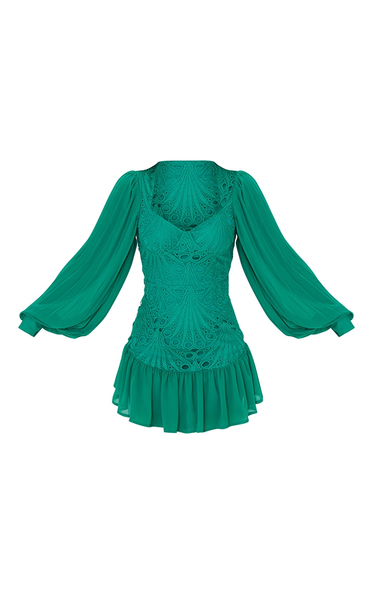Emerald Green Chiffon Sleeves Cup Detail Lace Bodycon Dress 5