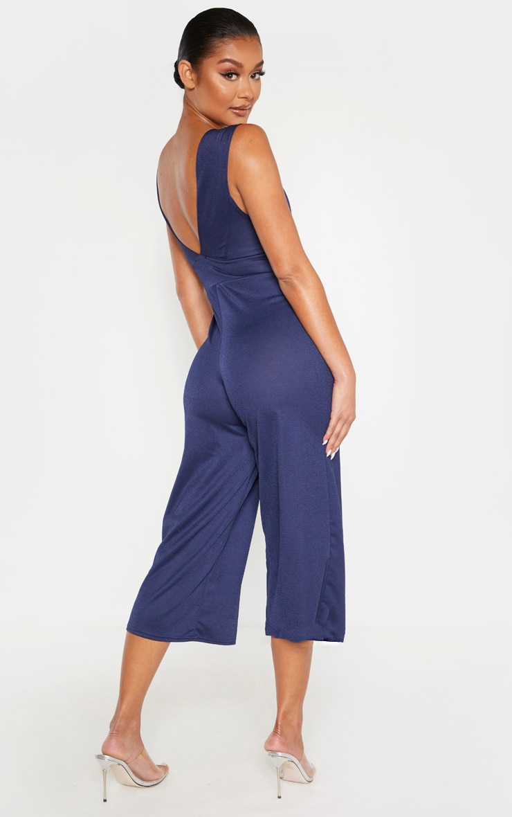 Navy Plunge Sleeveless Culotte Jumpsuit 2