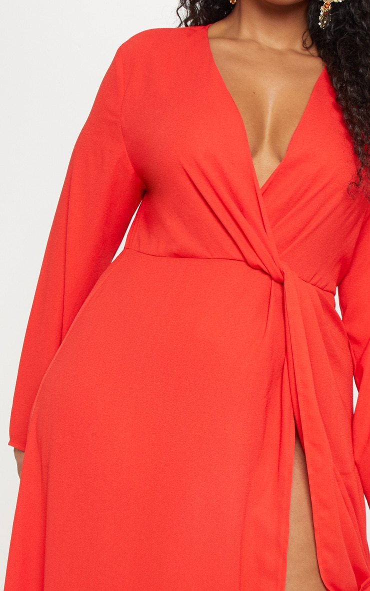 Plus Red Twist Front Maxi Dress 5
