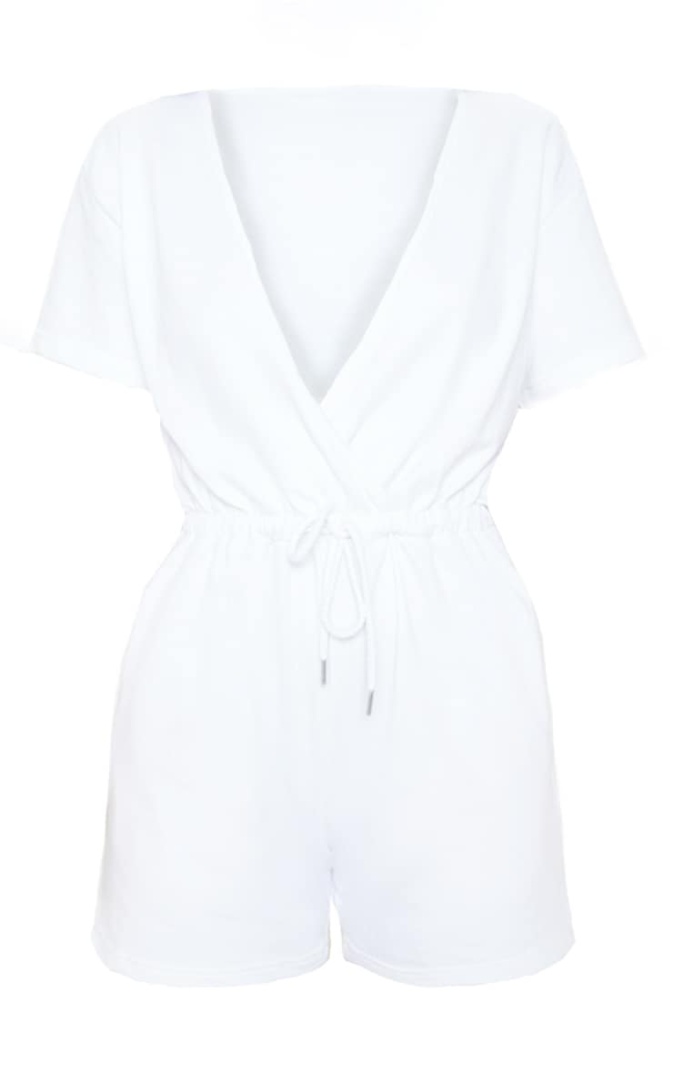 White Wrap Front Sweat Playsuit  3