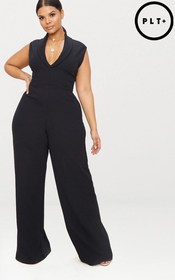 Plus Black Plunge Blazer Style Jumpsuit 1