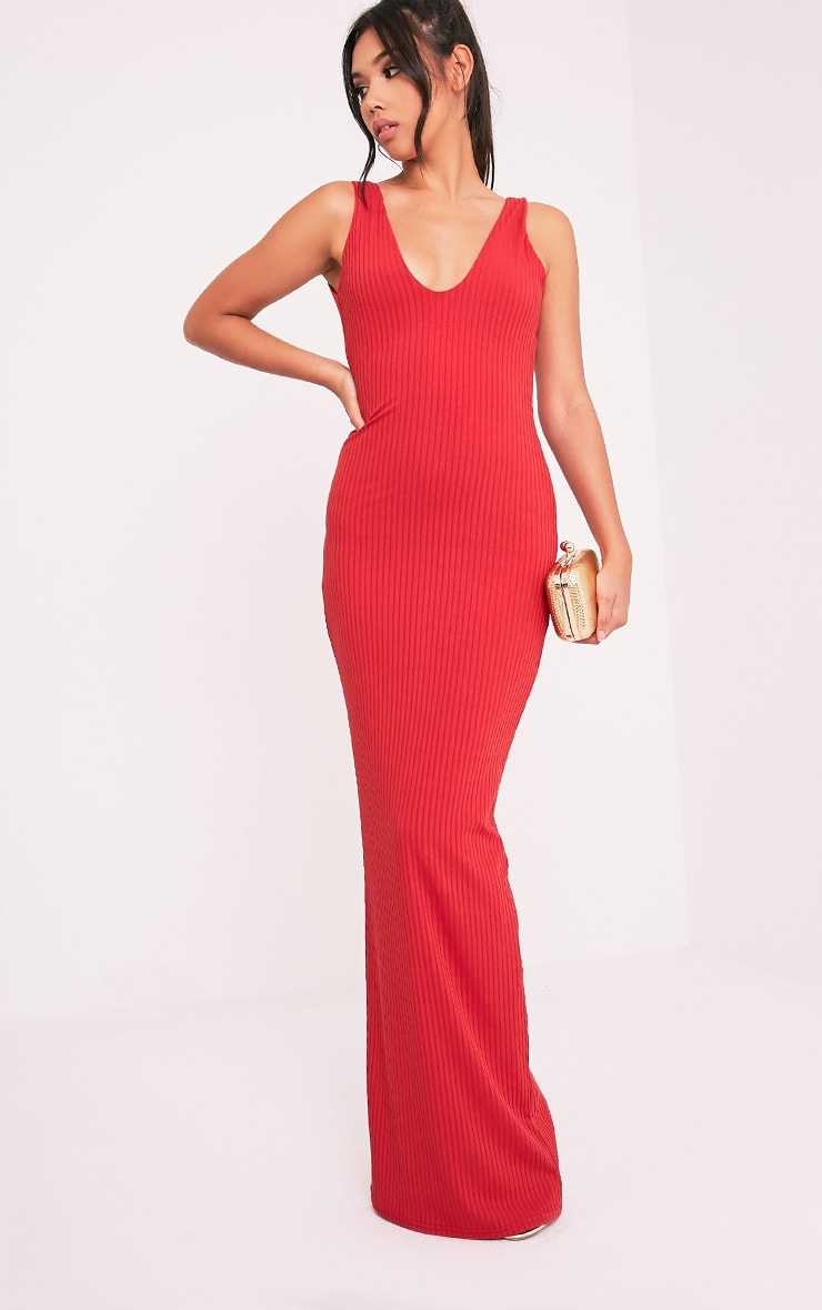 Decota Red Ribbed Plunge Maxi Dress 1