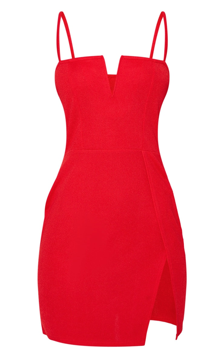 Red Extreme Thigh Split Panelled Plunge Bodycon Dress 3
