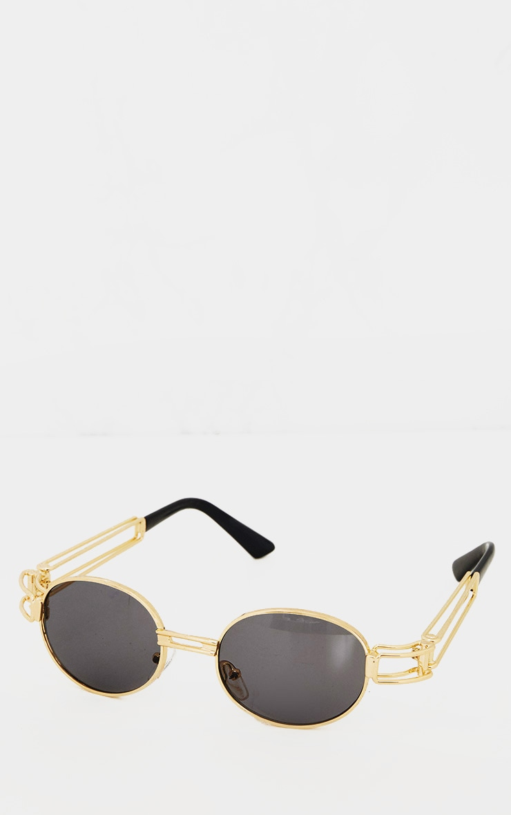 Black Oval Metal Frame Retro Sunglasses 3