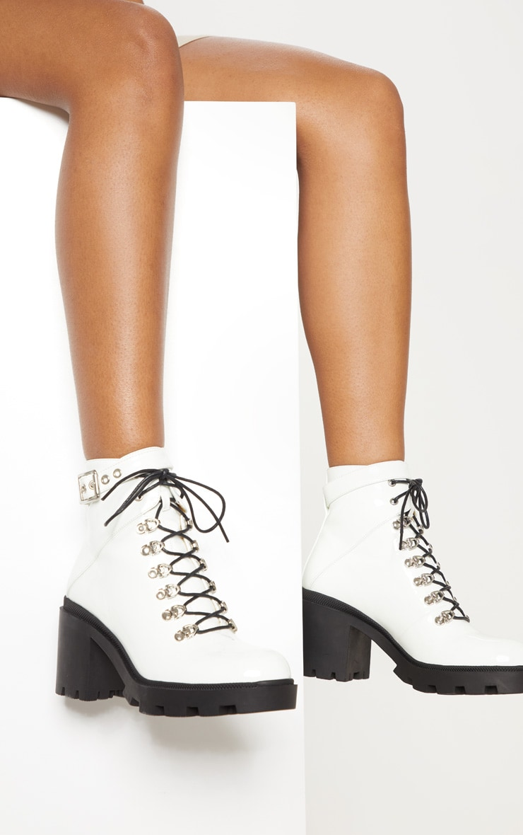White Lace Up Heeled Hiker Boot 1