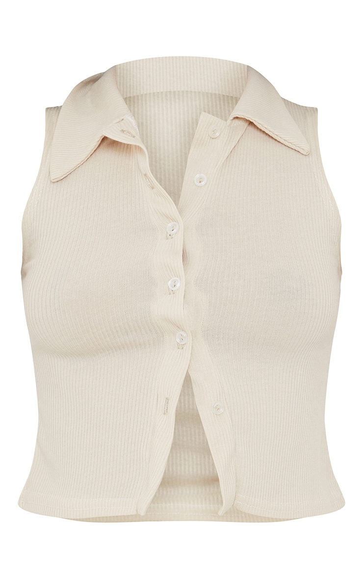 Oatmeal Ribbed Collar Detail Sleeveless Button Front Top 5