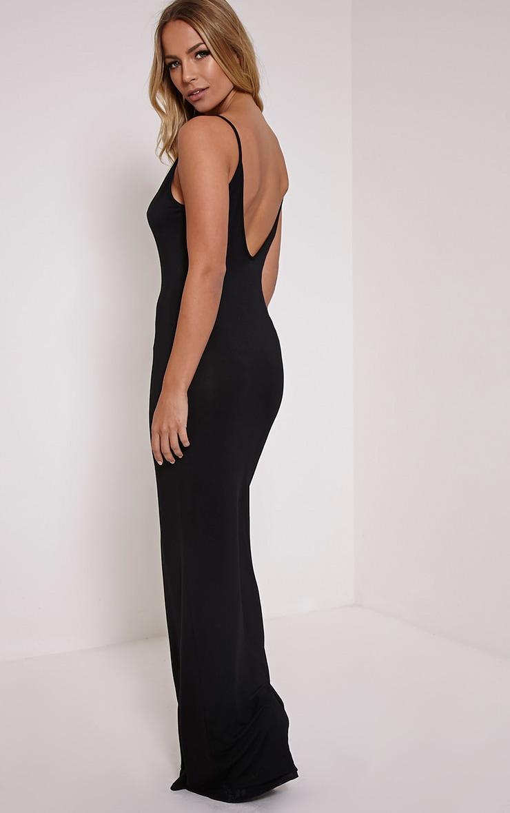 Basic robe maxi à dos échancré noire 1