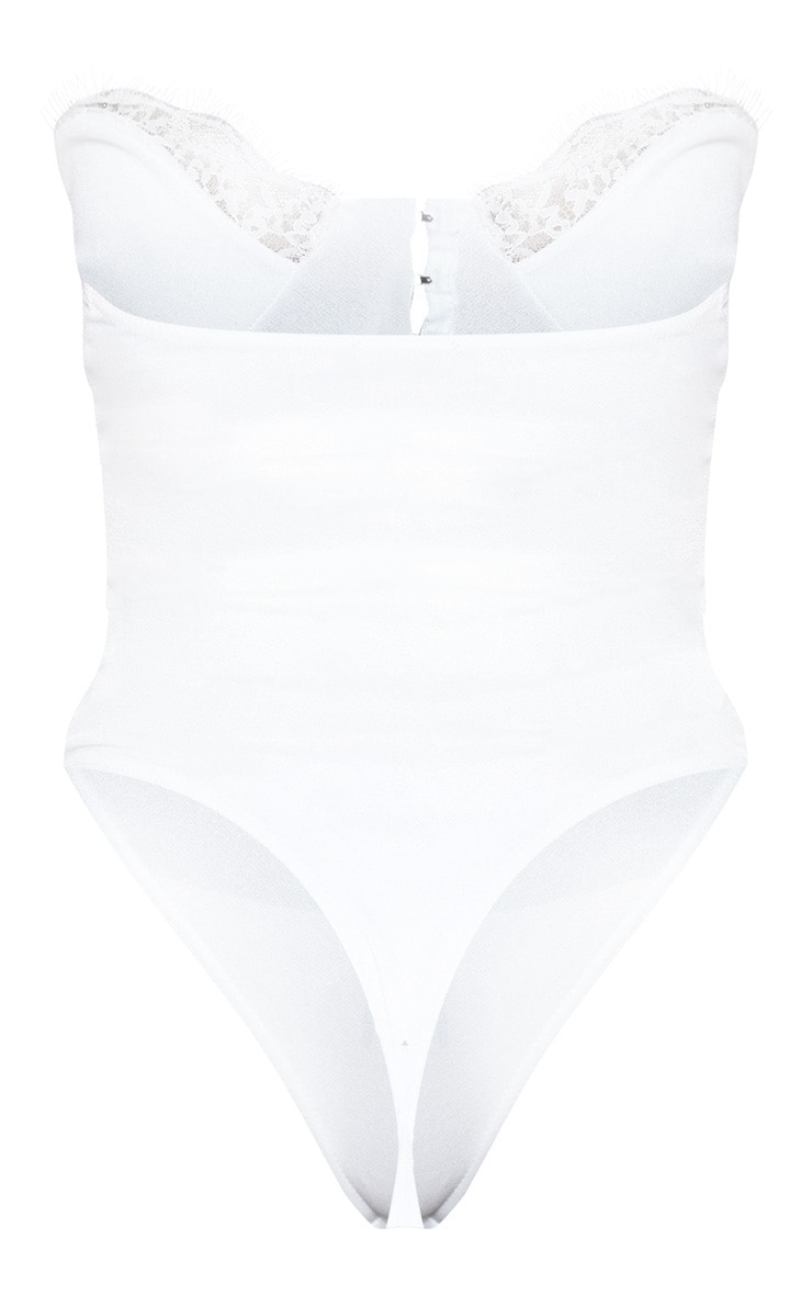 White Hook And Eye Lace Trim Bodysuit 3