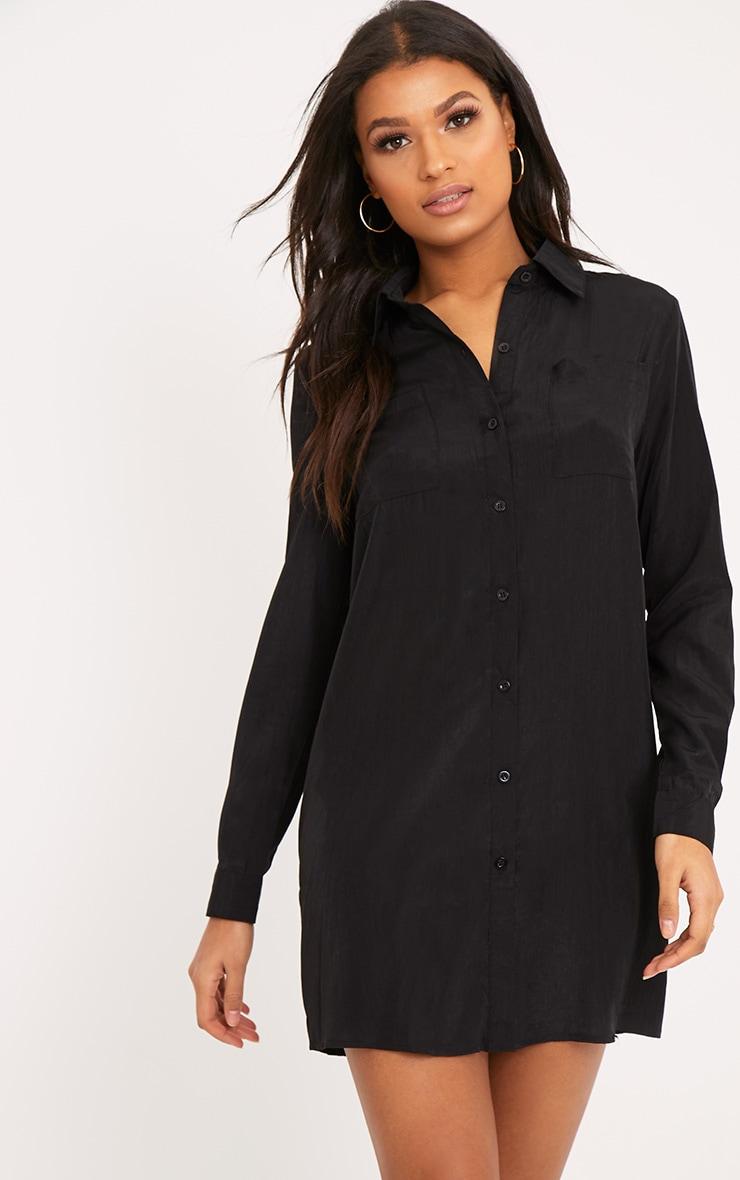 Reeana robe chemise noire toucher soie à appliqué fleuri 4