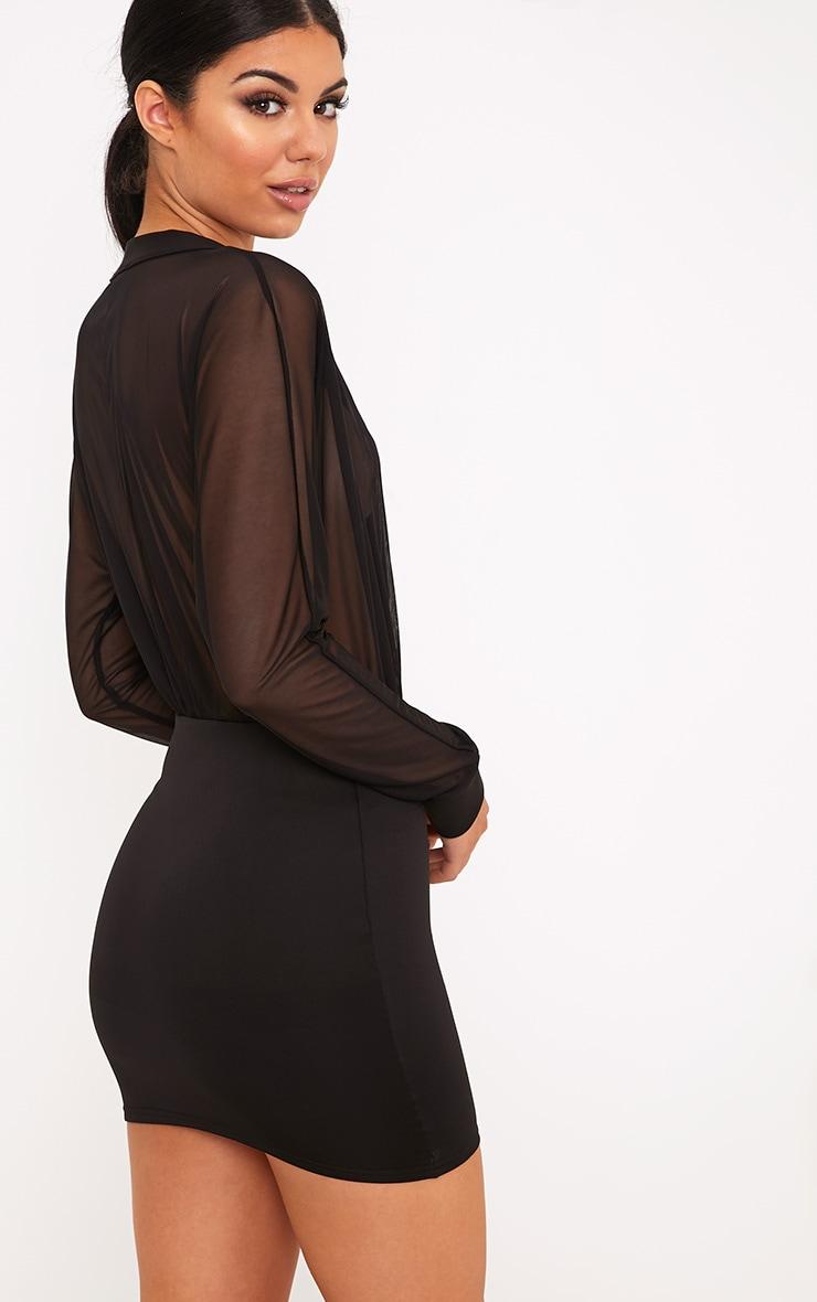 Trudy Black Mesh Plunge Bodycon Dress 2