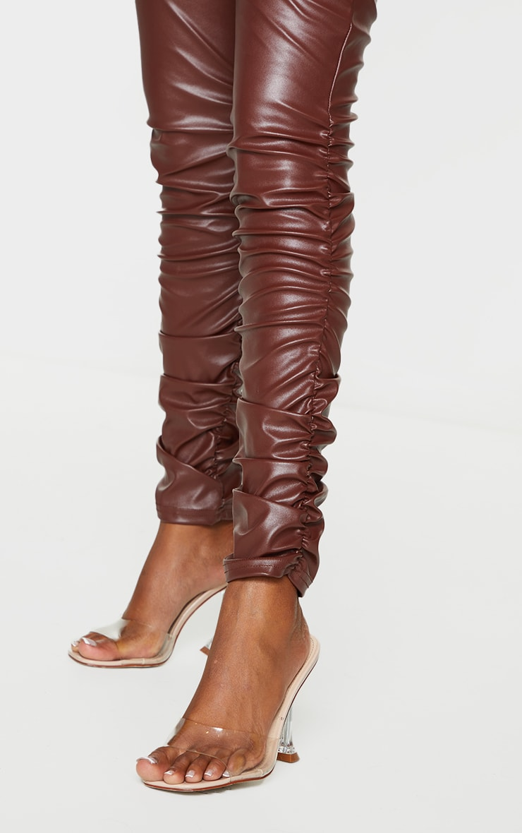 Brown Faux Leather Ruched Leg Skinny Trousers 4