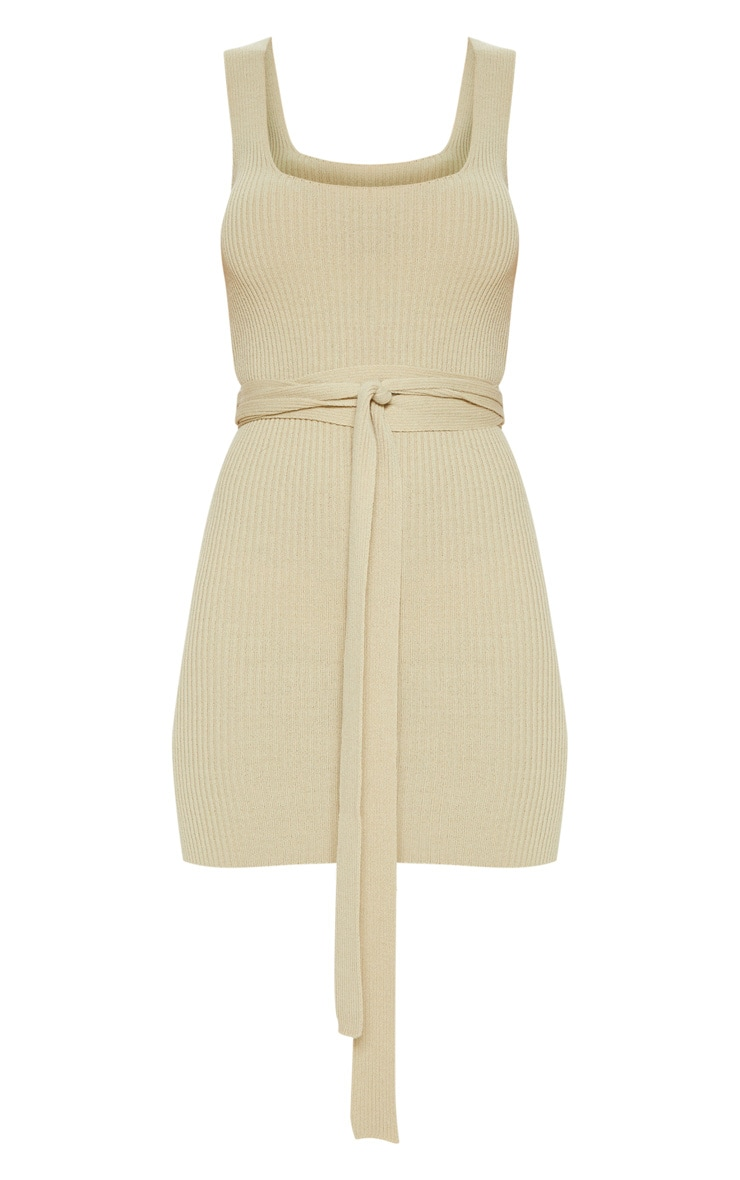 Stone Knitted Tie Detail Bodycon Dress 3