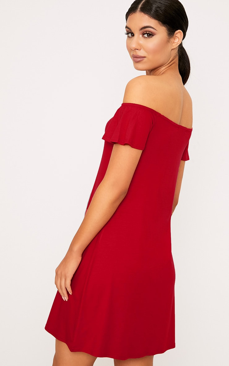 Manina Red Jersey Bardot Swing Dress 2