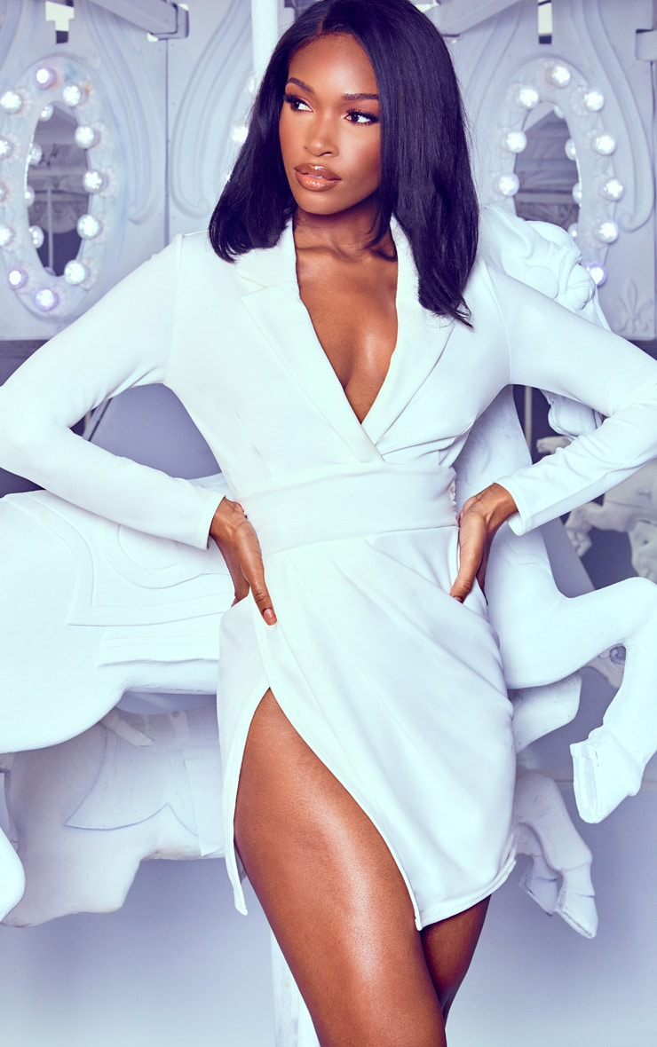 White Ruched Waist Extreme Split Blazer Dress