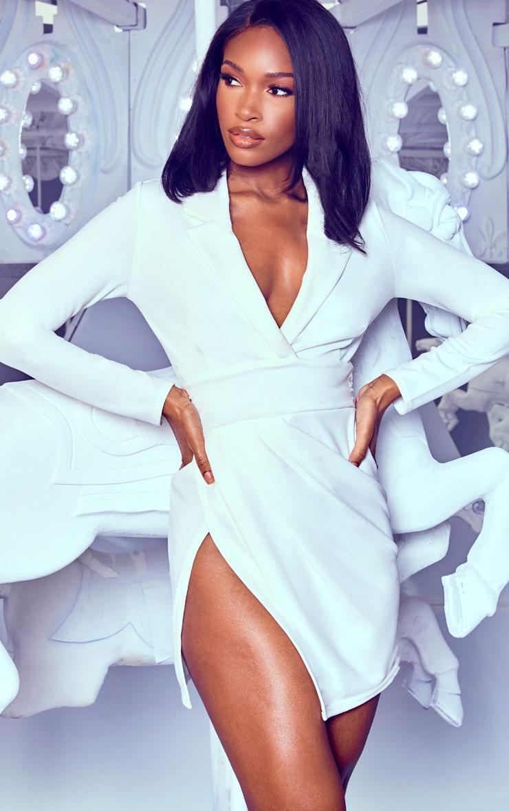 White Ruched Waist Extreme Split Blazer Dress