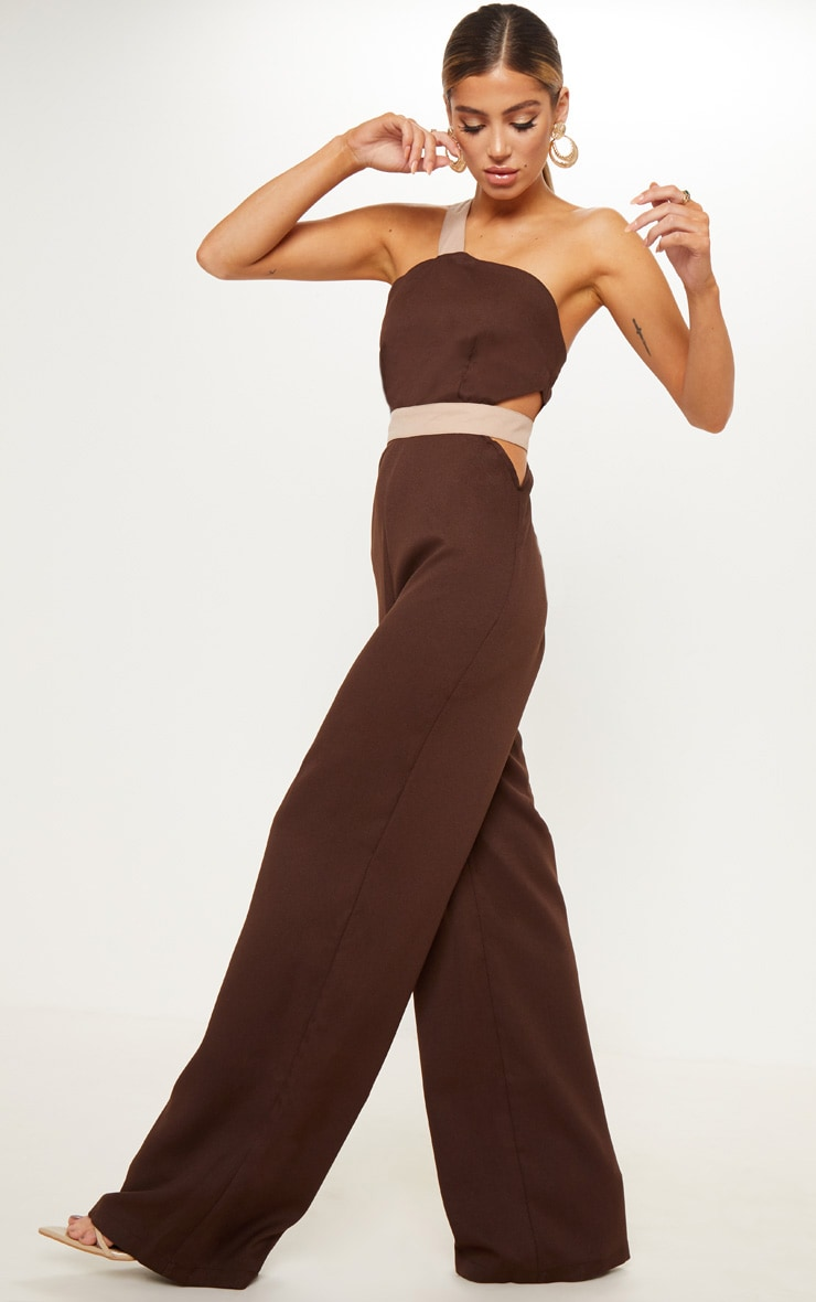 Chocolate Brown Contrast Cut Out One Shoulder Wide Leg Jumpsuit