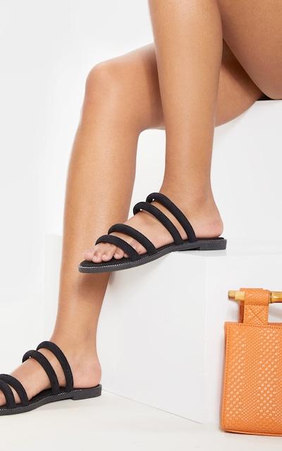 eed45df07 Black Tube Strappy Mule Flat Sandal