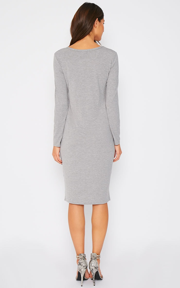 Amity Grey Long Sleeve Jersey Dress  2