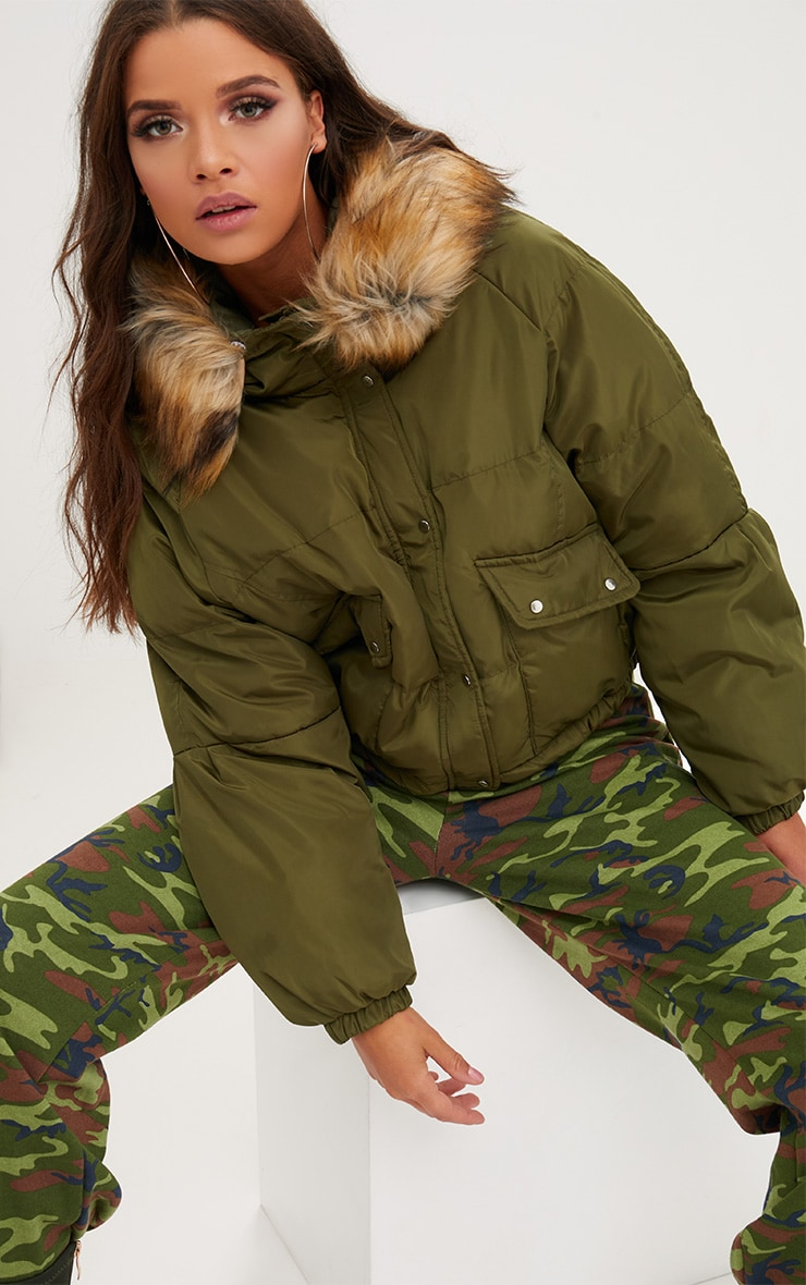 Khaki Cropped Puffer Jacket with Faux Fur Hood 1