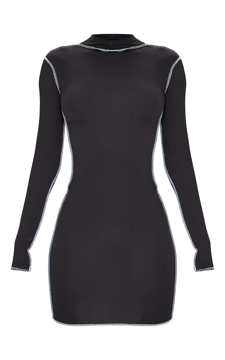 Tall Black Contrast Stich High Neck Bodycon Dress 5