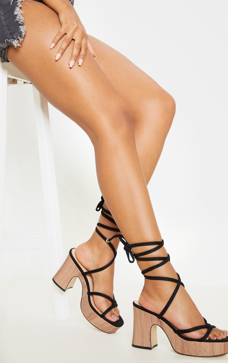 Black Wood Platform Lace Up Sandal 2