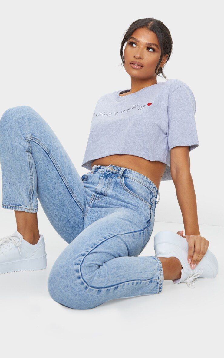 Grey Kindness Is Everything Printed Crop T Shirt 3