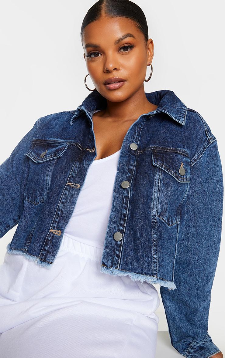 Plus Mid Blue Washed Denim Crop Jacket 4