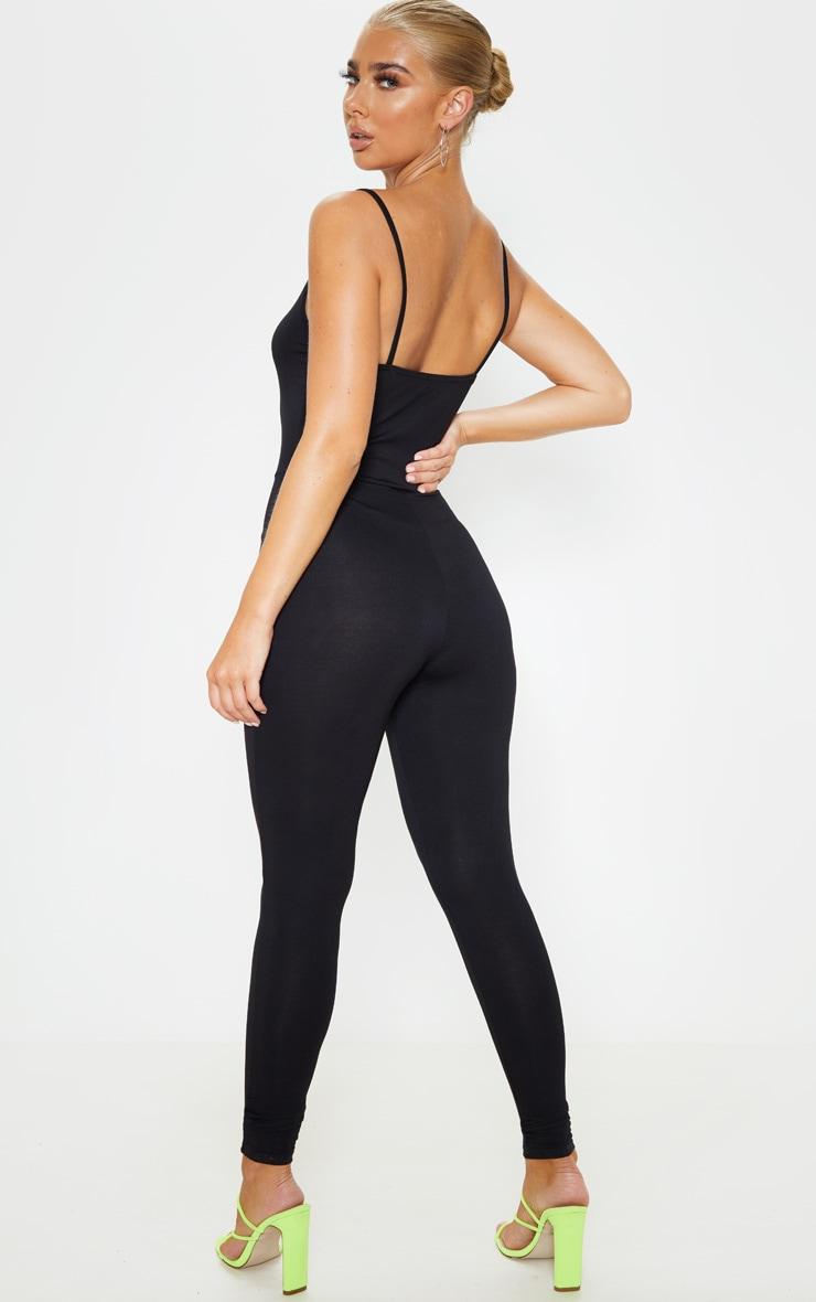 Black Basic Strappy Plunge Jumpsuit 1
