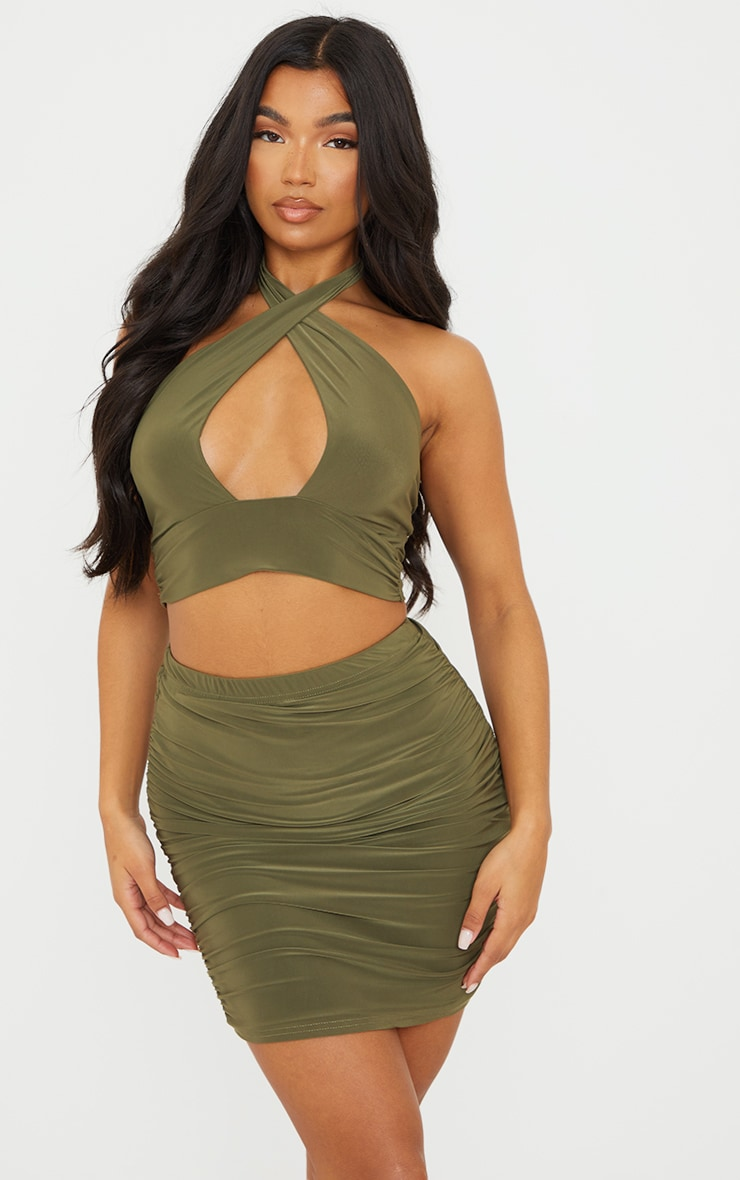 Olive Green Slinky Ruched Side Mini Skirt 4