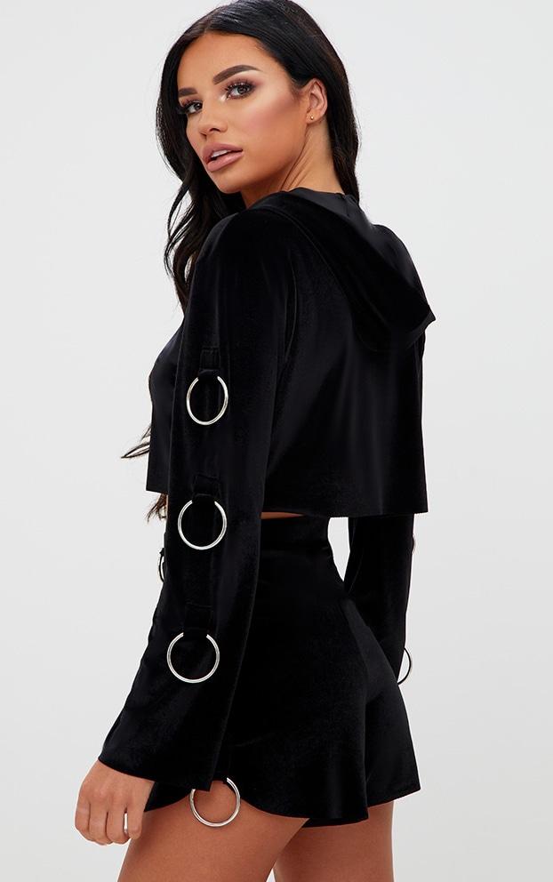 Black Velvet O Ring Detail Hoodie 2