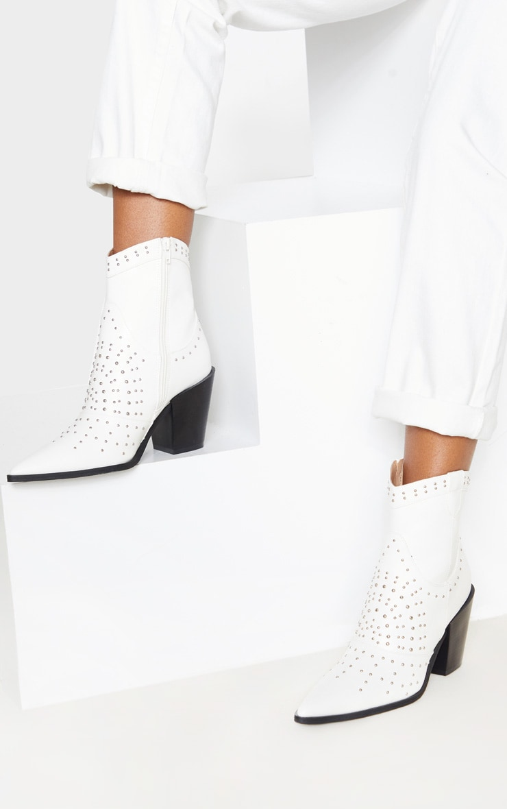 White Point Toe Stud Detail Western Heel Ankle Boot 2