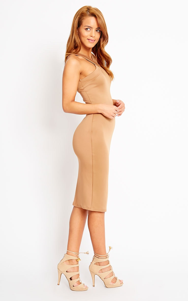 Melanie Camel Cross Front Midi Dress 4