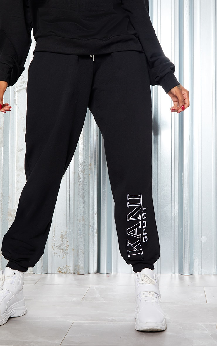 KARL KANI Black Embroidered Joggers 4