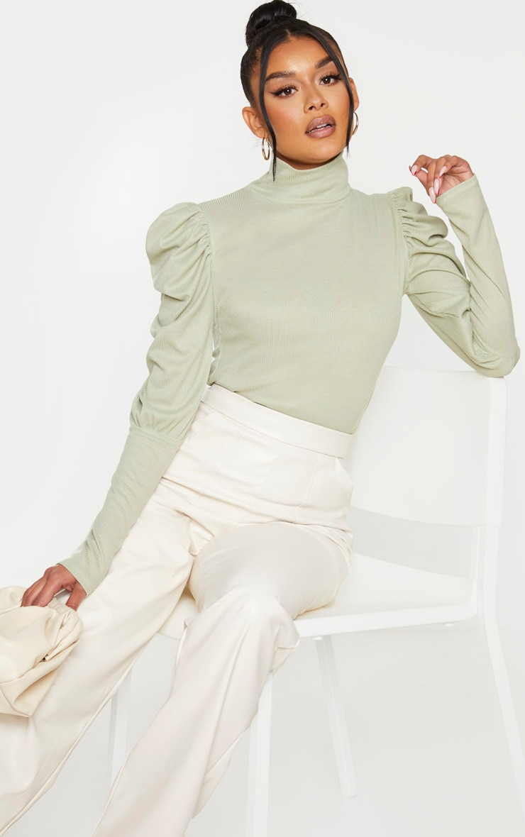 Mint Rib Puff Sleeve Long Top 1