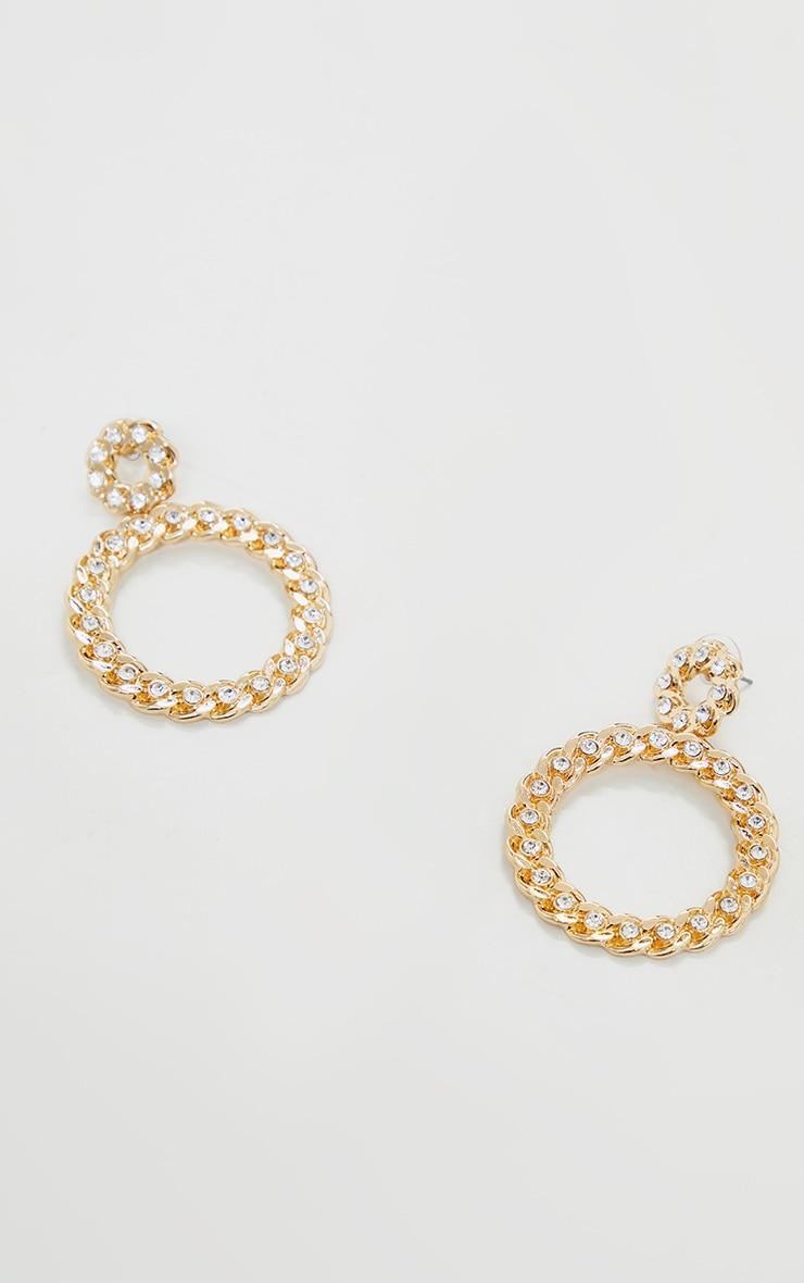 Gold Diamante Chain Statement Hoop Earrings 3