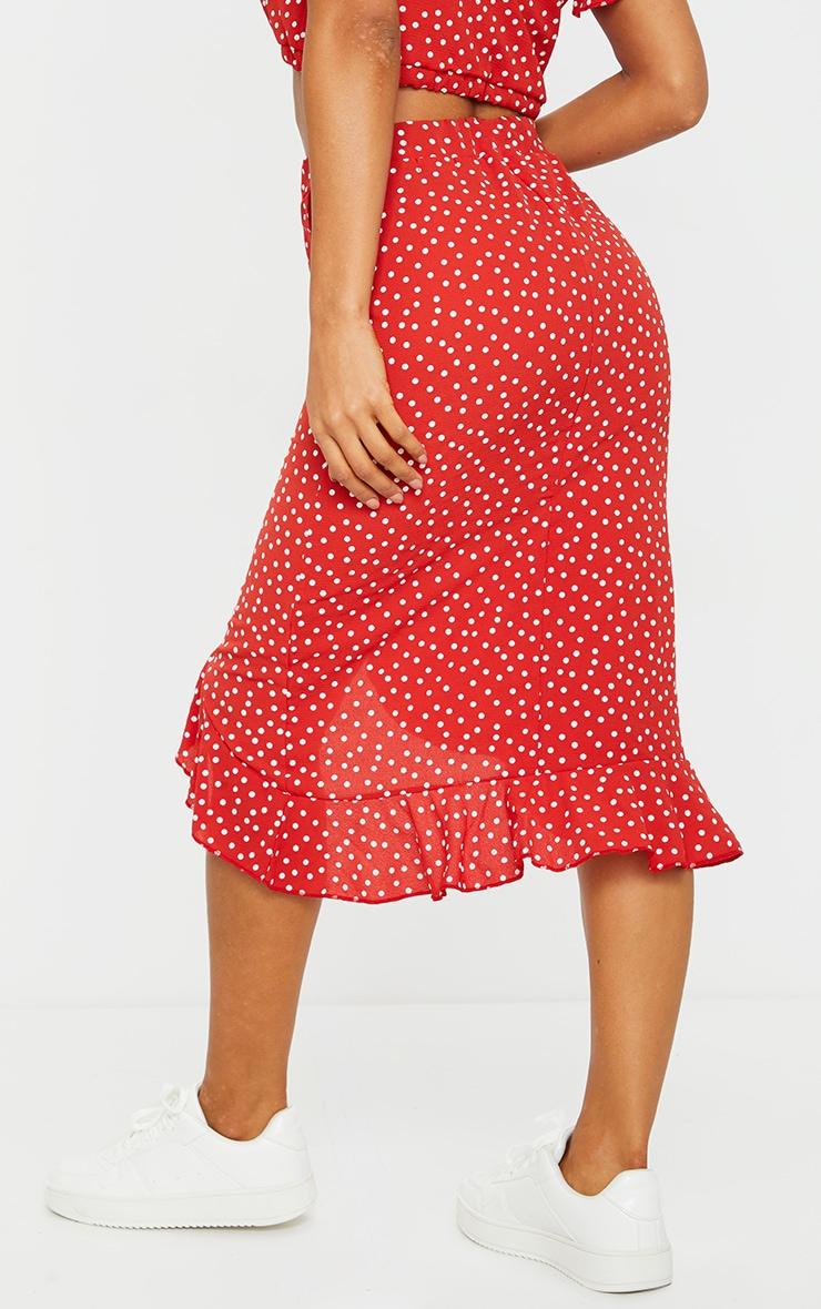 Red Polka Dot Frill Wrap Over Midi Skirt 3