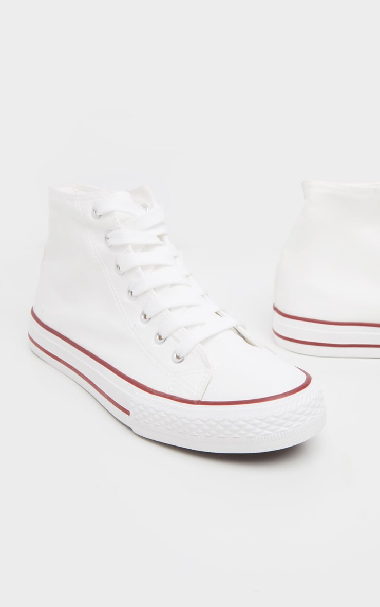 White High Top Canvas Sneakers  3