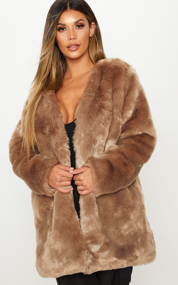 Brown Midi Faux Fur Coat  6