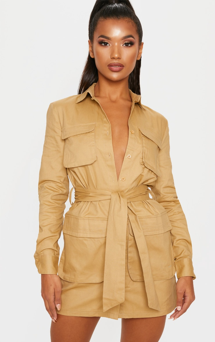 Camel Utility Tie Waist Shirt Dress 1